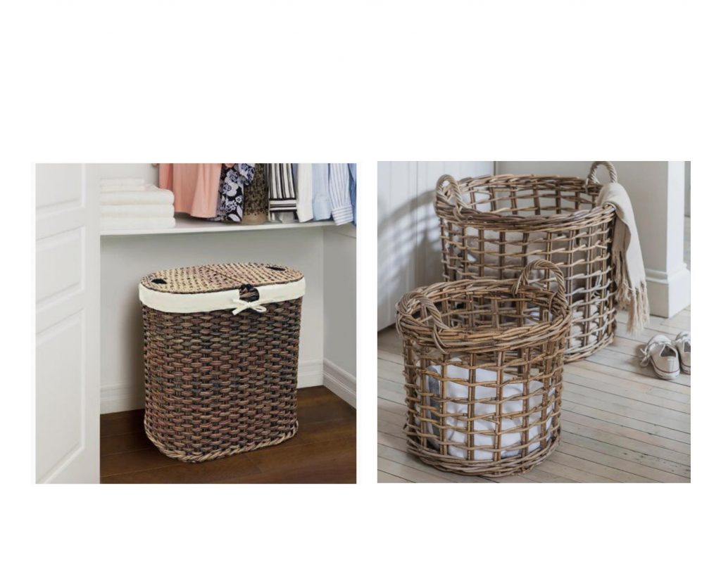 wicker baskets with clothes