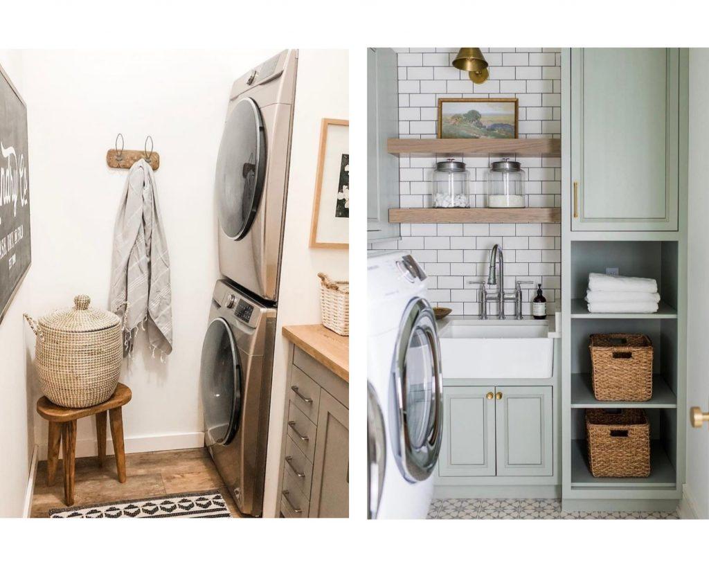 wicker baskets near laundry area