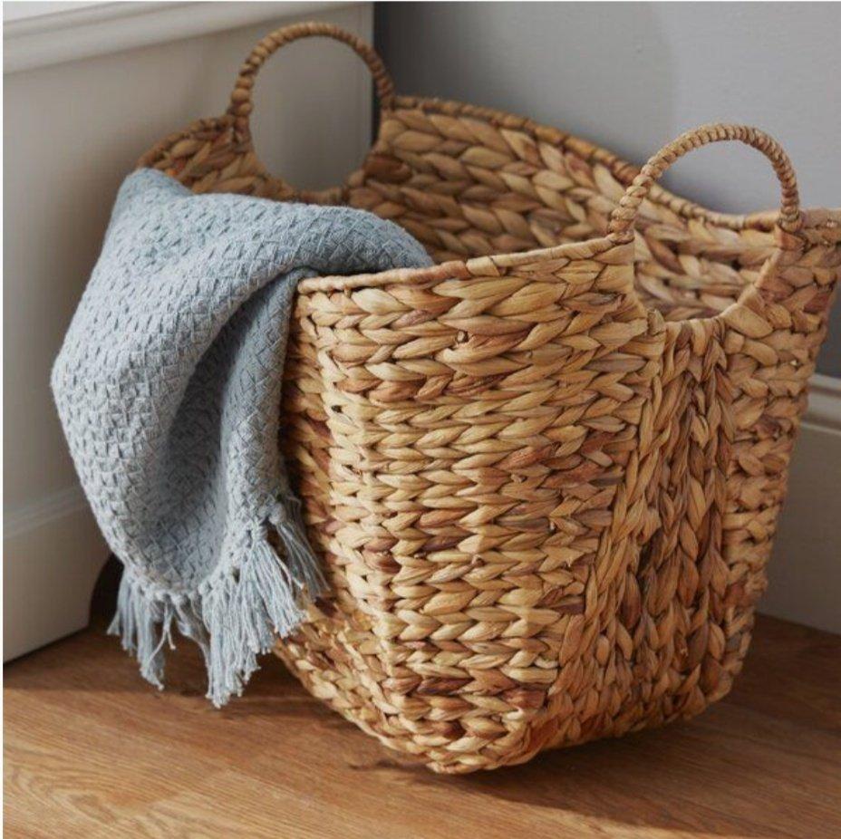 blanket in a wicker basket