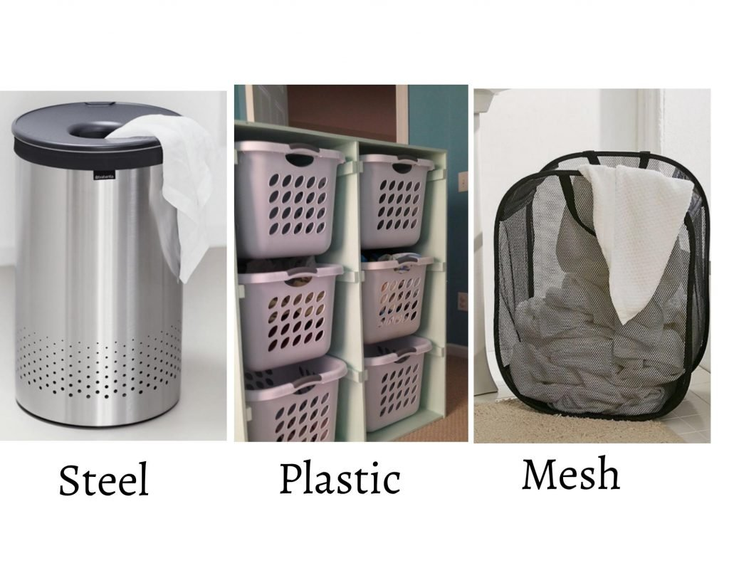 steel. plastic and mesh laundry wicker baskets