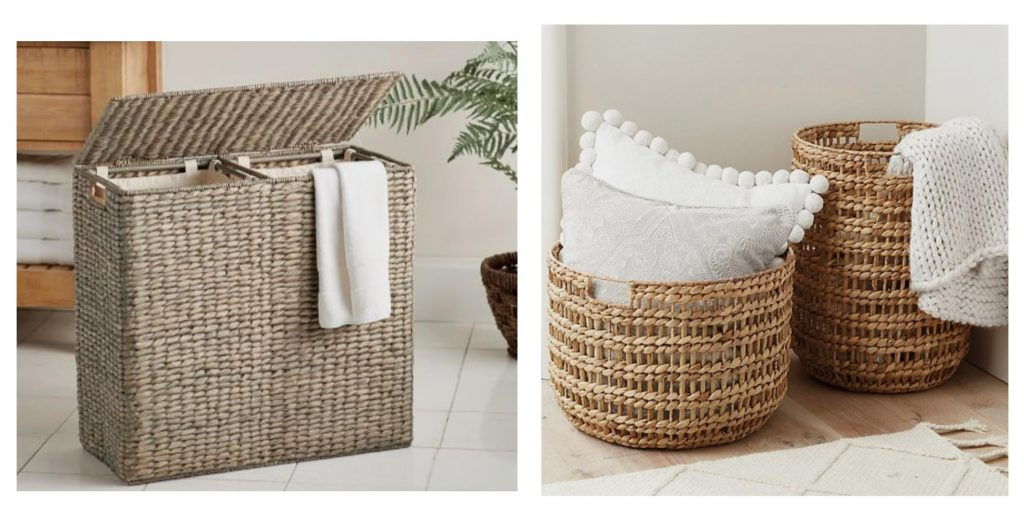 wicker baskets with flat and round base