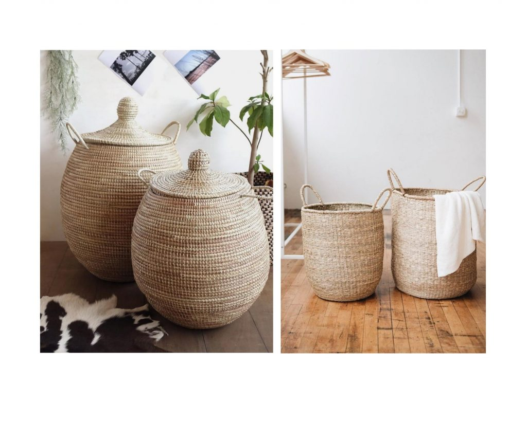 wicker baskets with and without lid