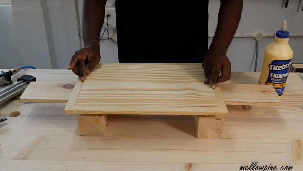 dry fitting the pine wood board