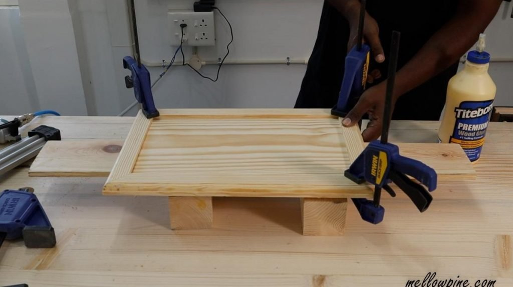 clamping the board after glue up