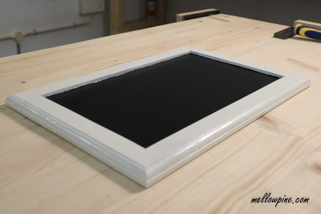 chalkboard serving tray after painting