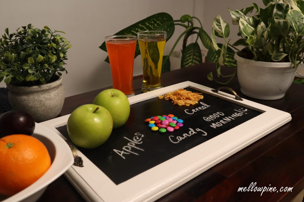 Chalkboard serving tray with fruits