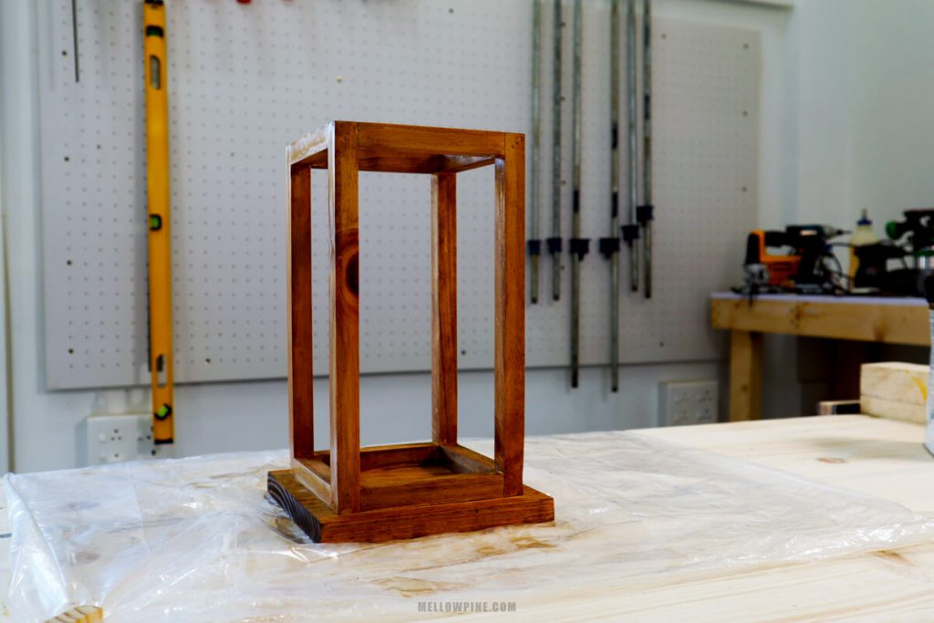 wood lantern after finishing with danish oil