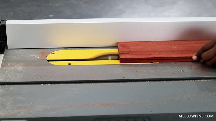"Ripping the padauk pieces at ¾"" rip width"