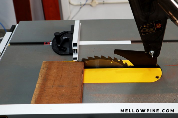 cutting cherry board on table saw