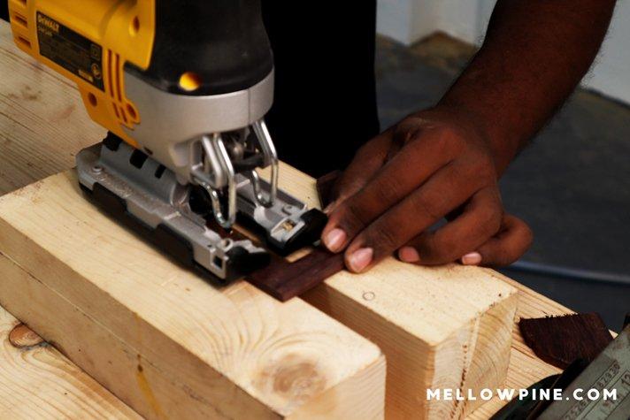 cutting the piece using jigsaw