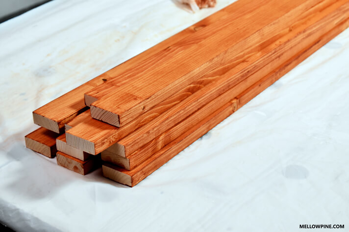 Slats stained with Cherry Stain