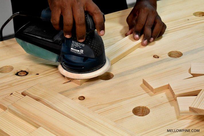 sanding the wood