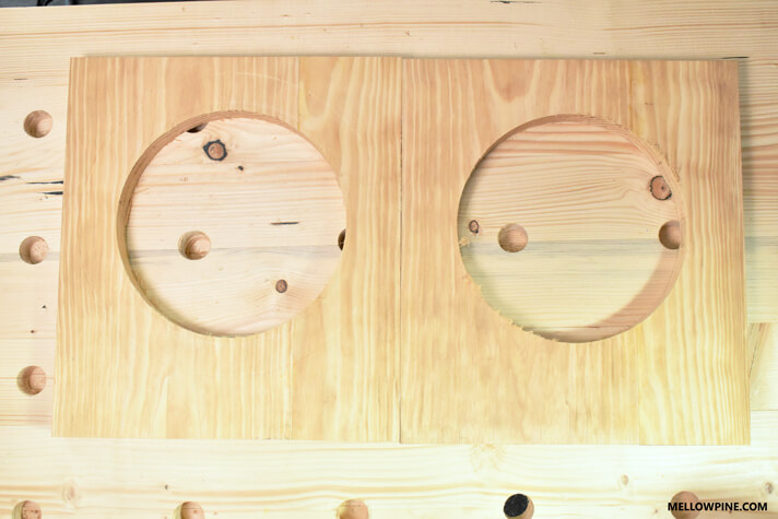 The Bench leg pieces after cutting the circle