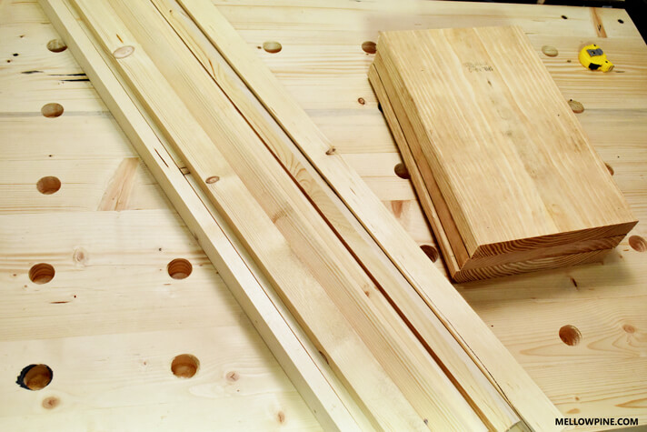 Slat pieces and the boards for the legs stacked up after sizing