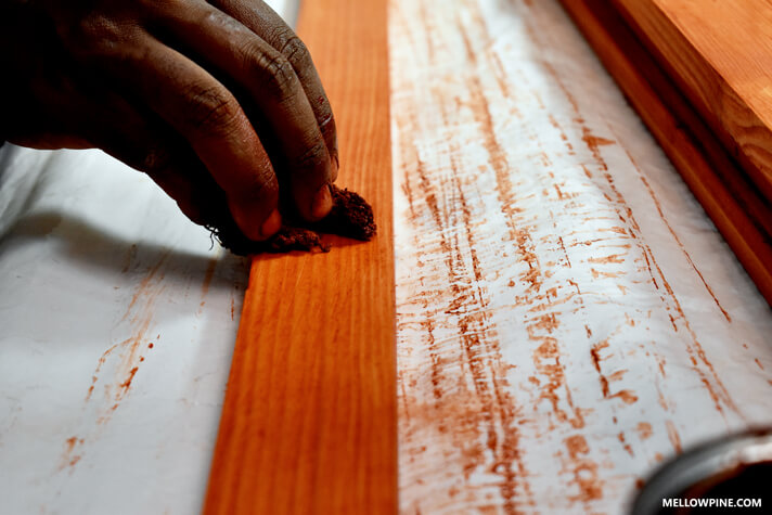 Staining the slats with Cherry stain