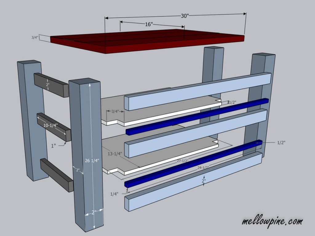 DIY Kitchen Cart on Wheels-Exploded Plan View