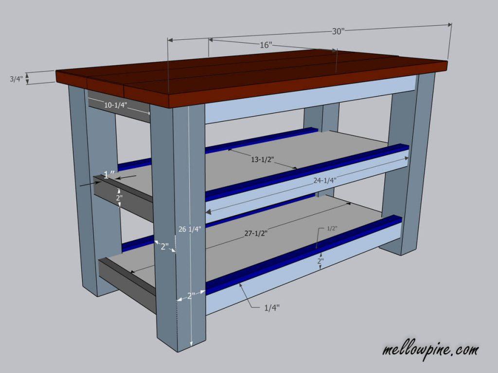 DIY Kitchen Cart on Wheels-Plan Drawing