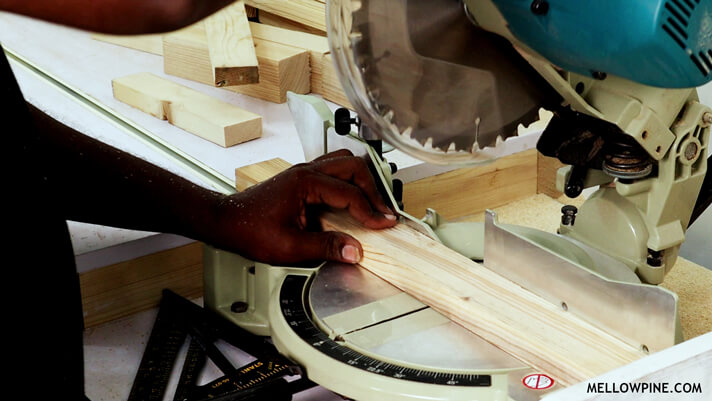 Cutting the bracing pieces on the miter saw