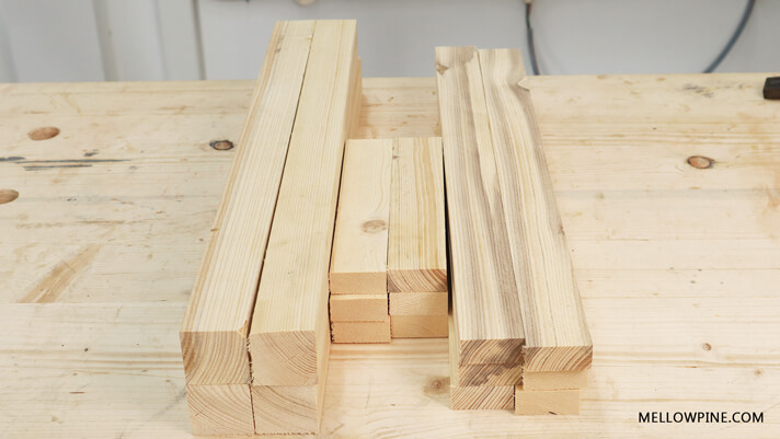 Lumber Pieces for the frame of kitchen cart