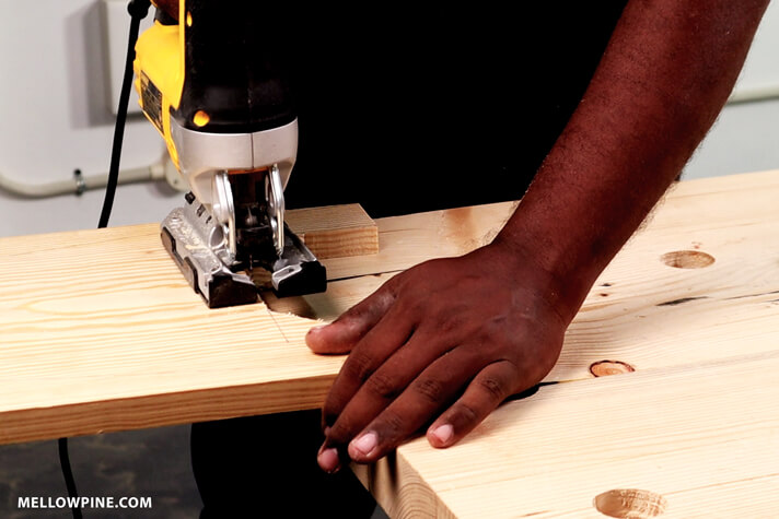 Cutting the slot in the legs of the stool