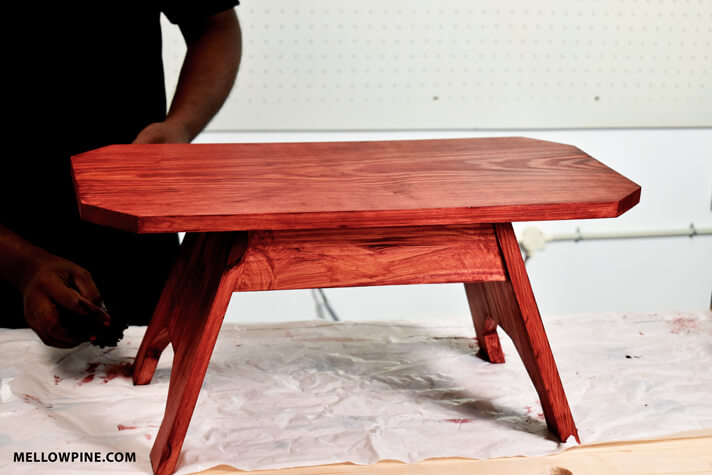 Applying Cabernet Gel Stain to the Stool
