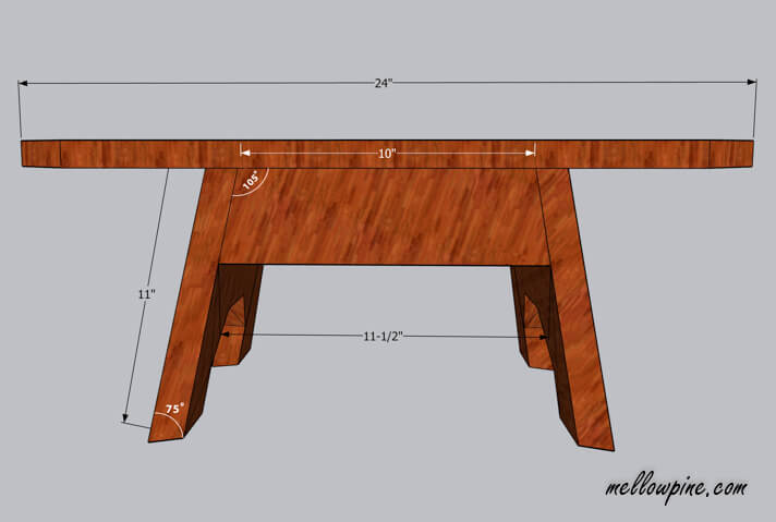 DIY Wooden Stool Plan-side view
