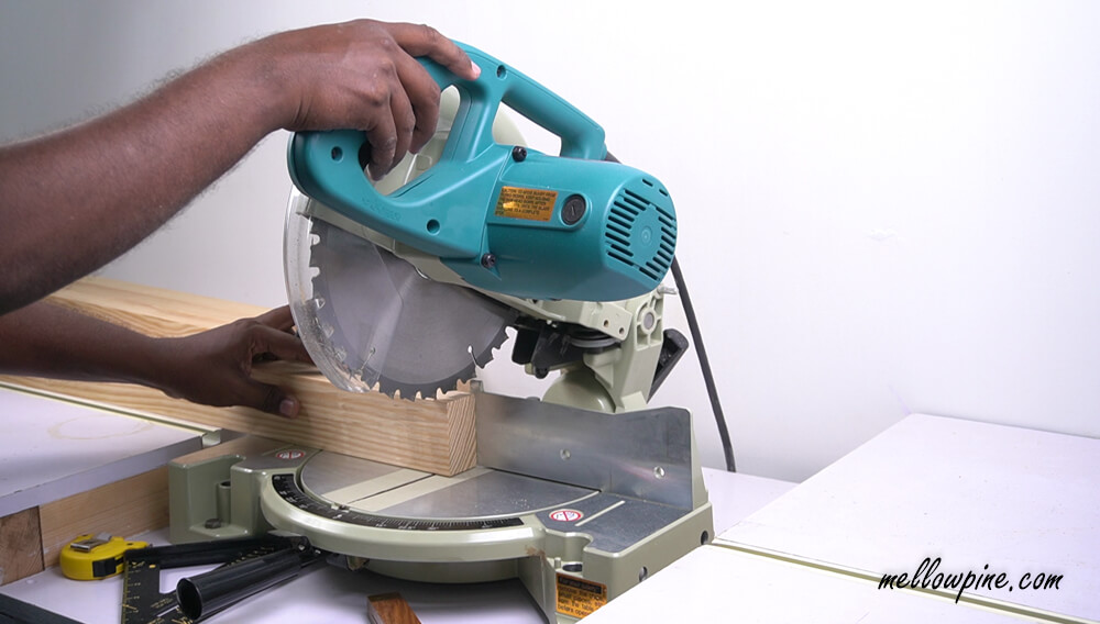 Cutting the frame pieces on the miter saw