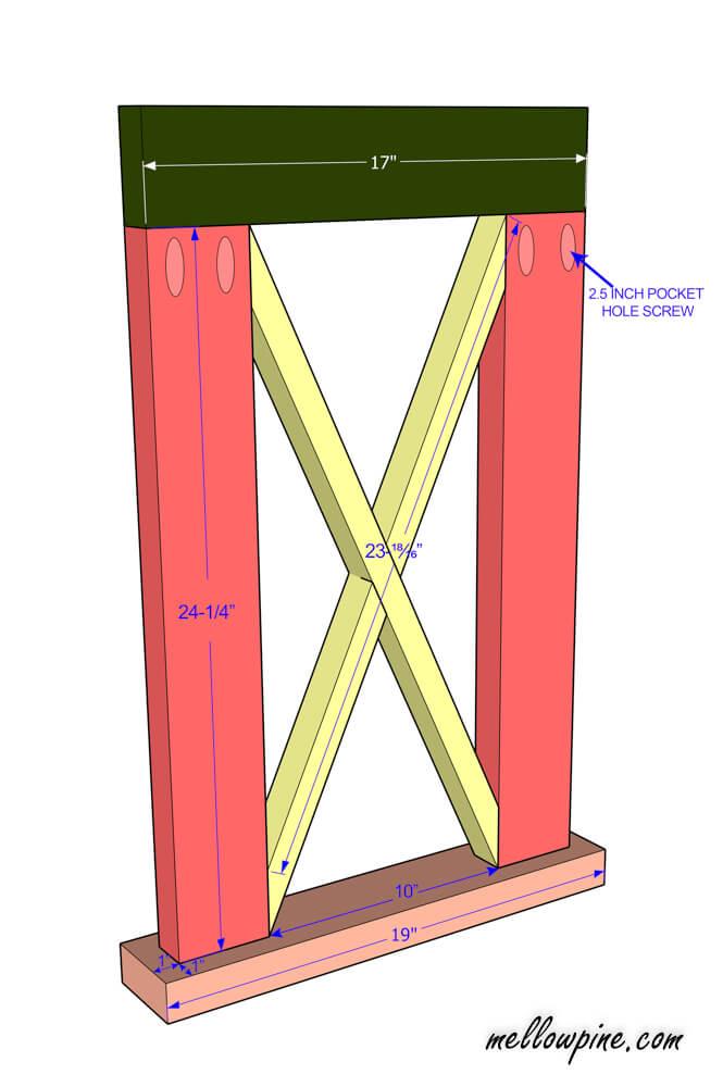 Plan for leg frame component