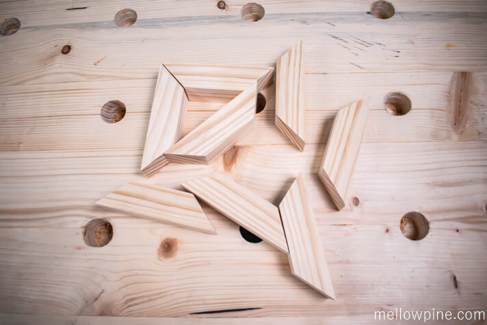 Eight Inclined bracing pieces ready for joining