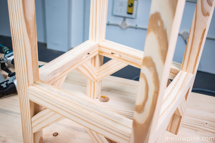 Completed stool frame