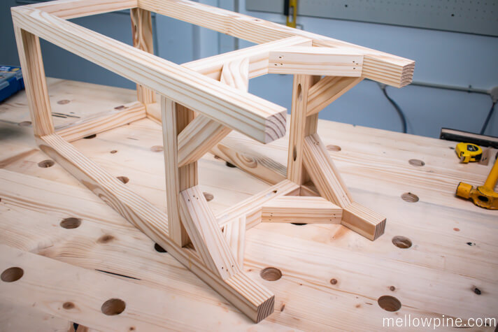 Completed bar stool frame
