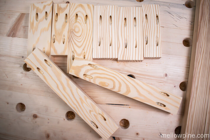 Bracing Pieces with pocket holes drilled
