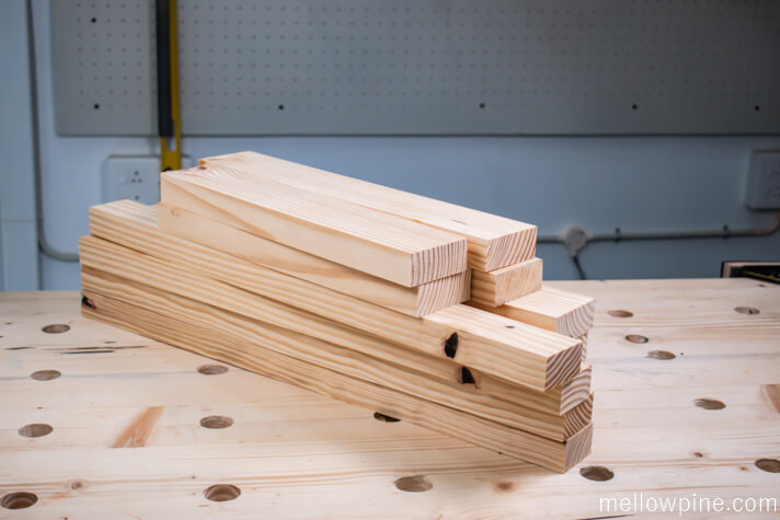 Lumber for the table stacked
