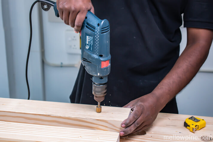 Countersinking the drill holes