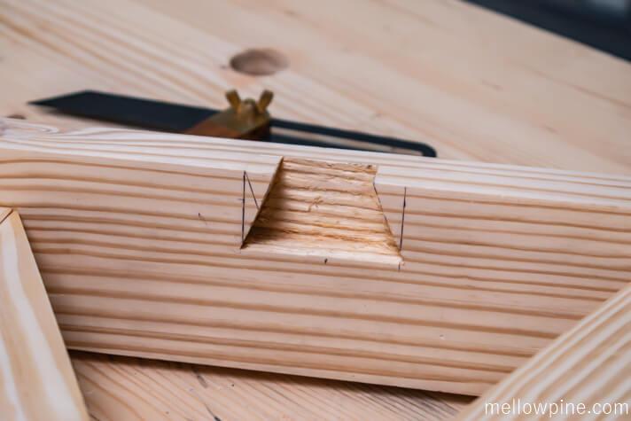 dovetail slot in the leg frame base