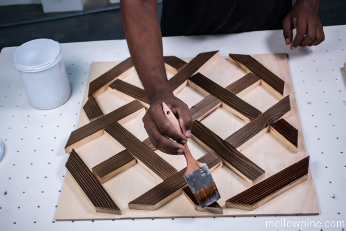 Applying PU on the burned 1 x 2 pieces