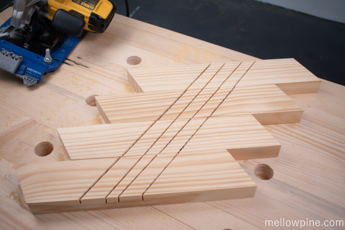 Making the cuts using circular saw for chiseling out