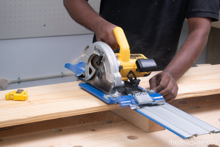 Cutting the top piece for the bench from the board