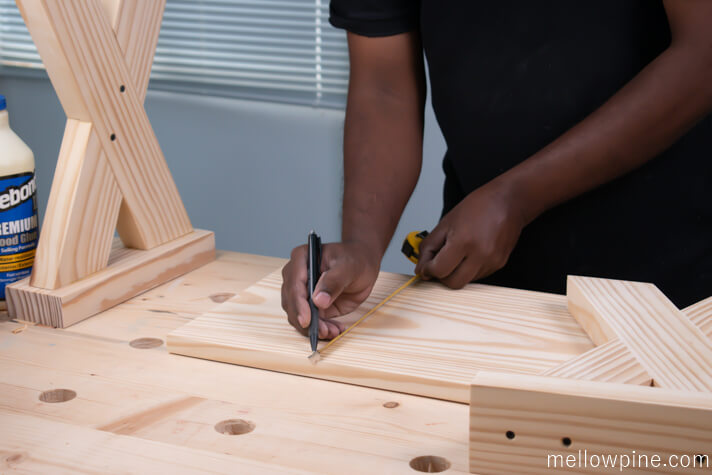 Marking the location for joining the leg piece to the top piece