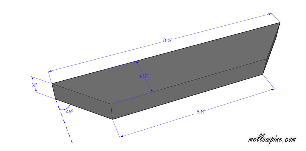 "Plan of 8-½"" inch piece with both ends mitered"