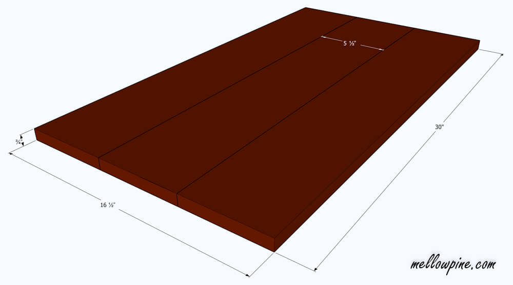 Plan for table top of kitchen cart
