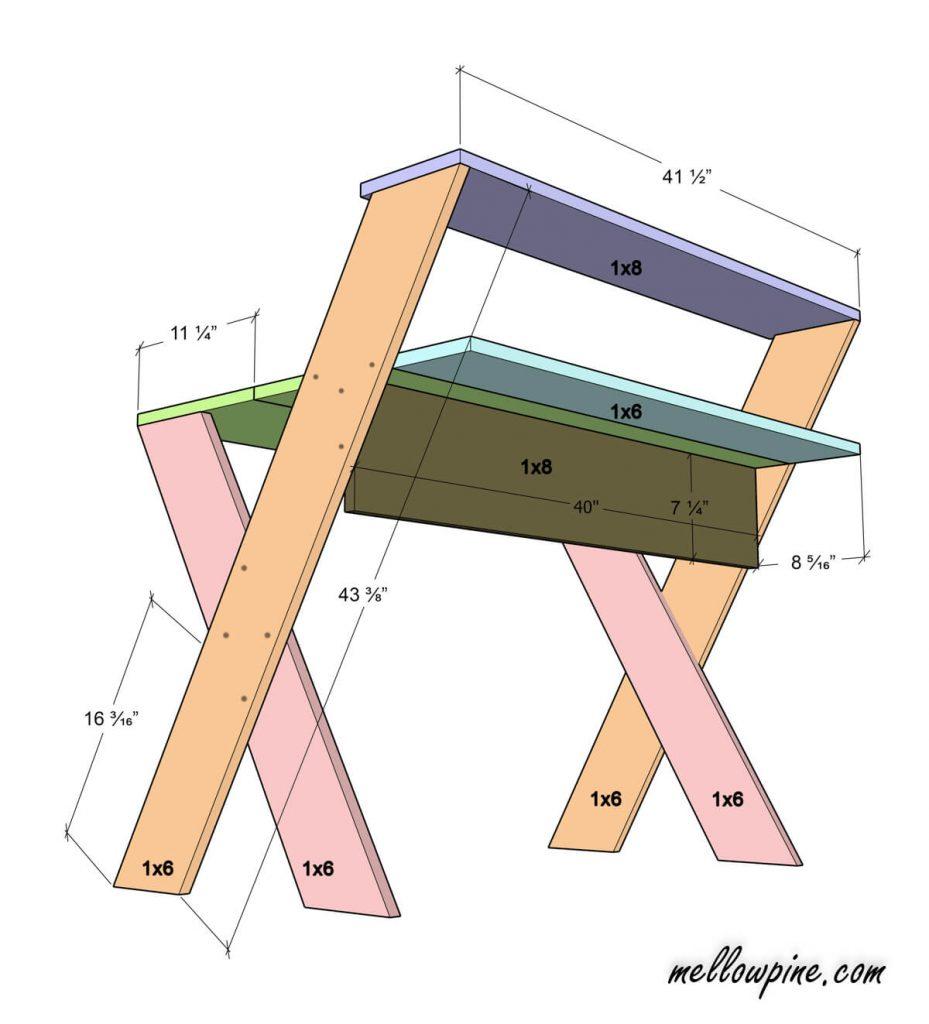 DIY X Desk Plan-Back View