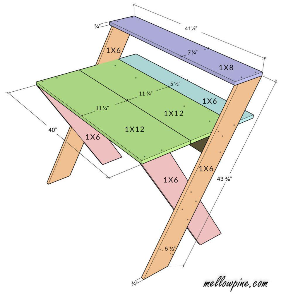 DIY X Desk Plan-Front View