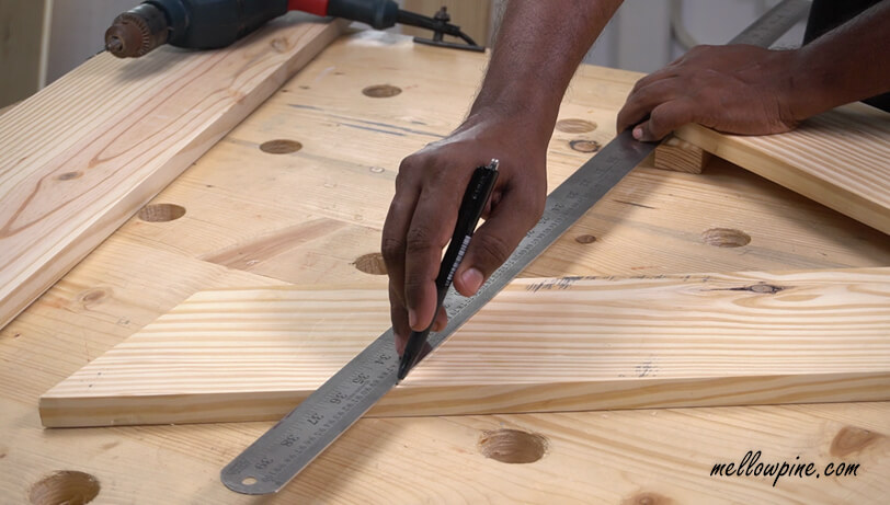 Marking the horizontal line for levelling the desk top