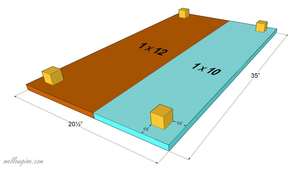 Plan for fixing the corner pieces to the table top