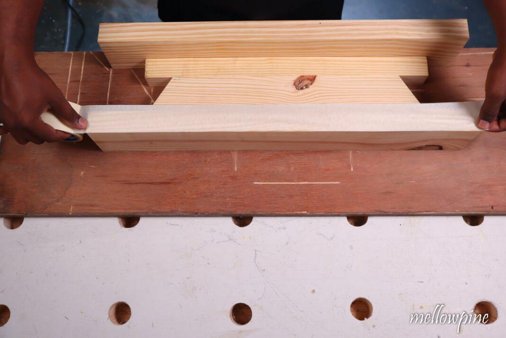 Masking tape on wood>